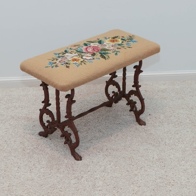Cast Iron Bench with Floral Needlework Seat, Early 20th Century