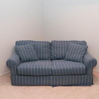 Contemporary Alan White Blue and White Striped Sofa