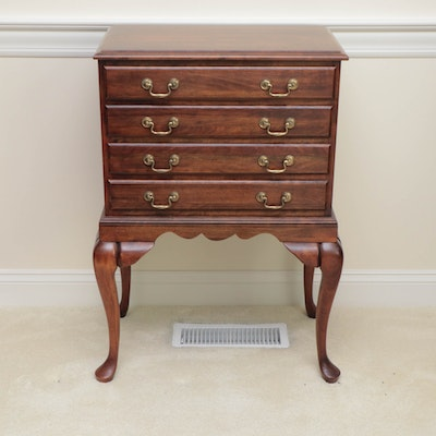 Queen Anne Style Mahogany Flatware Storage Cabinet