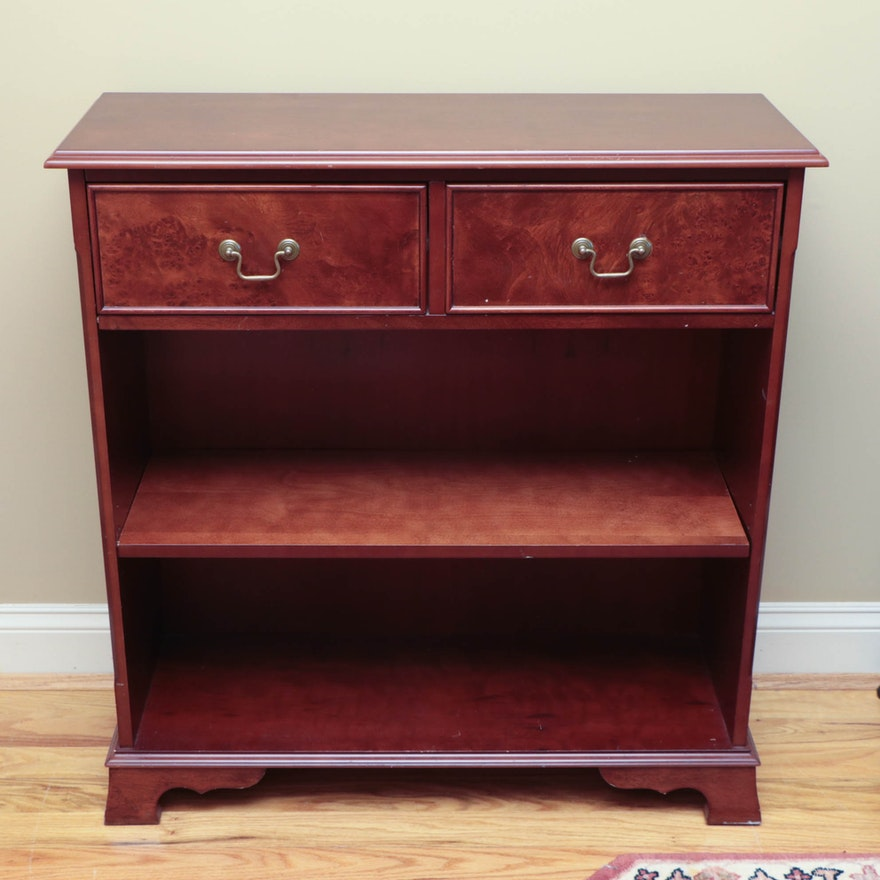 Federal Style Mahogany and Burl Wood-Stained Bookcase, Late 20th Century