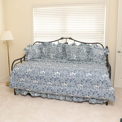 Mottled-Finish Iron Daybed with Pop-Up Trundle and Ralph Lauren Twin Bedding