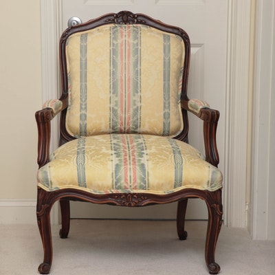 Louis XV Style Walnut-Stained Fauteuil, Late 20th Century