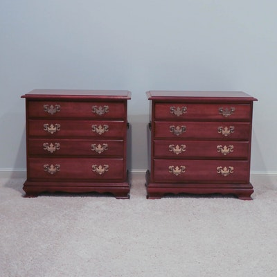 Pair of Chippendale Style Cherry Four-Drawer Nightstands, Late 20th Century