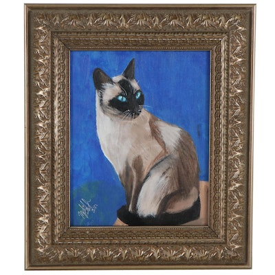 Acrylic Painting of Siamese Cat, 2021