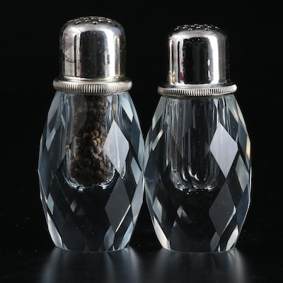 Post House Hand-Cut Crystal Pepper Mill and Shaker Set, Mid-20th Century