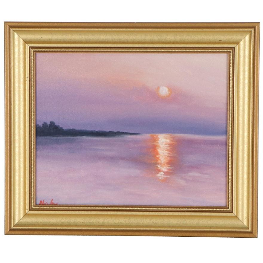 "Nicole Smith Coastal Scene Oil Painting ""Lilac Sunrise,"" 2021"
