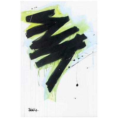 "Robbie Kemper Acrylic Painting ""Black Blue Green ZigZag"""