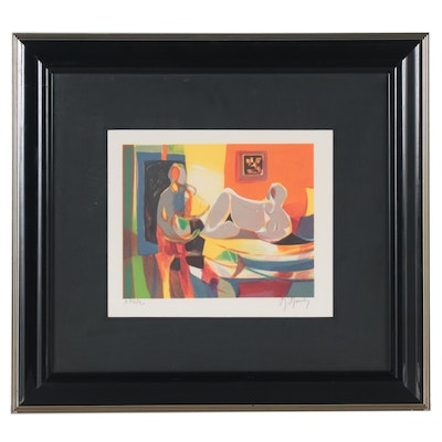 Marcel Mouly Color Lithograph of Reclining Figure