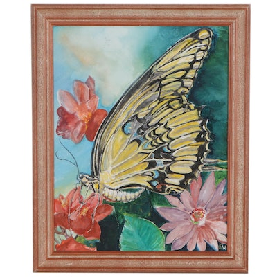 Acrylic Painting of Butterfly, circa 2000