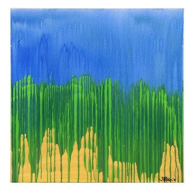 """J. Popolin Acrylic Pour Painting """"Rain at the Beach"""""""