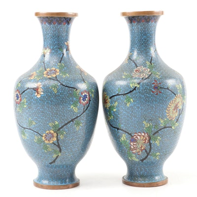 Pair of Chinese Cloisonné Vases with Chrysanthemum Motif