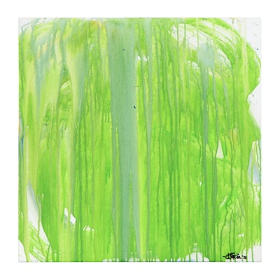 """J. Popolin Acrylic Pour Painting """"Spring Trees"""""""