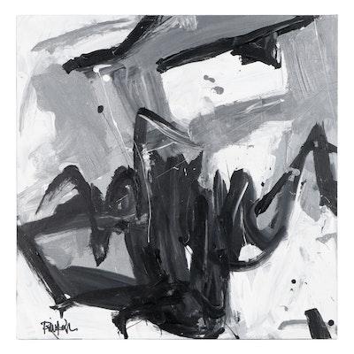 "Robbie Kemper Acyrlic Painting ""Moving Silver White & Black"""
