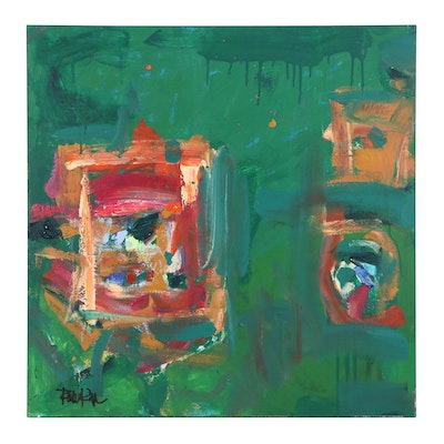 "Robbie Kemper Acrylic Painting ""3 Windows in Greens"""