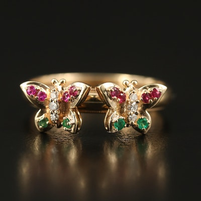 14K Diamond, Ruby and Emerald Butterfly Ring
