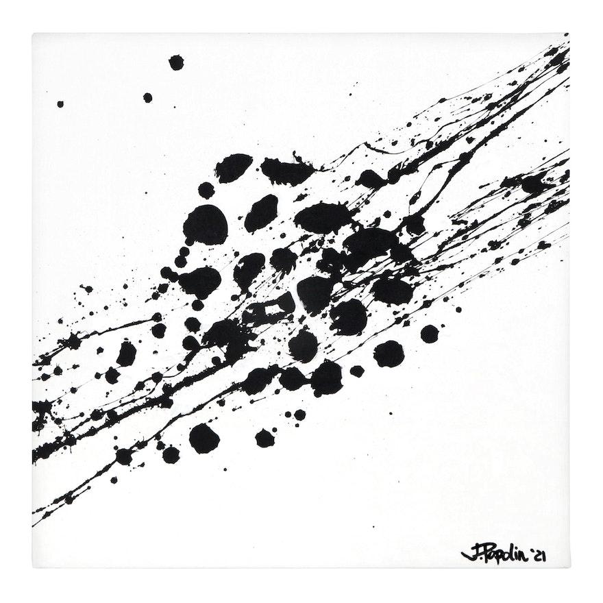 "J. Popolin Abstract Acrylic Painting ""Femur"""