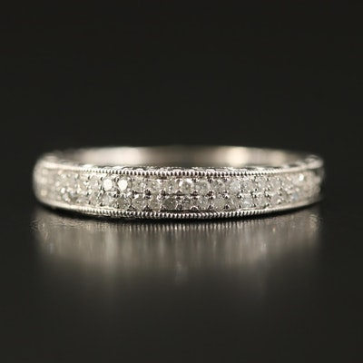 14K Diamond Double Row Band with Milgrain Edges