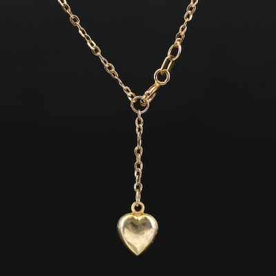 14K Anklet with Puff Heart Charm