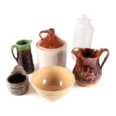Bennington Glaze Yellow Ware Swan Pitcher and Other  Kitchen and Tableware