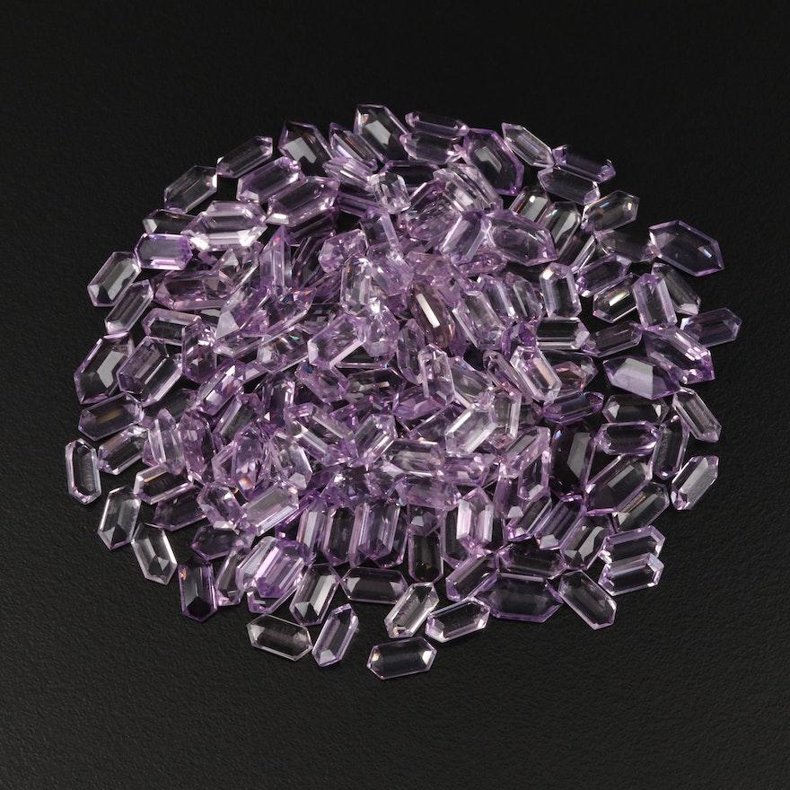 Loose 146.71 CTW Long Hexagonal Faceted Amethysts