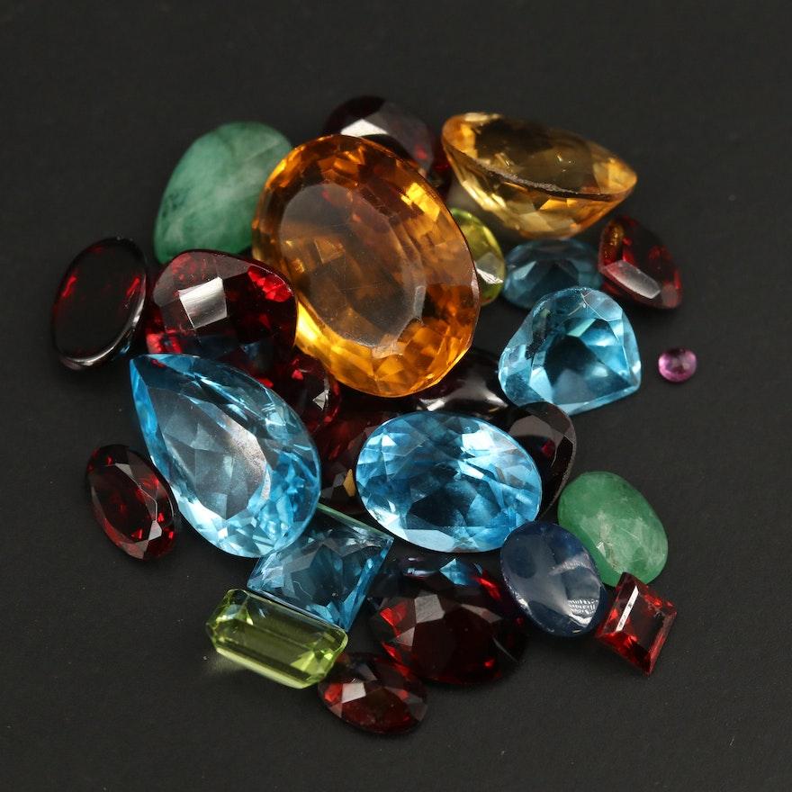 Loose 42.29 CTW Mixed Gemstones Including Topaz, Citrine and Garnet