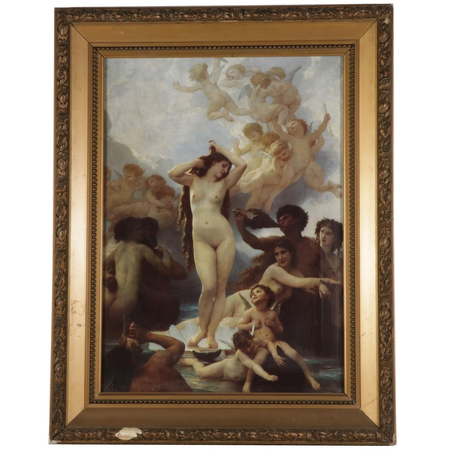 """Offset Lithograph After William-Adolphe Bouguereau """"The Birth of Venus"""""""