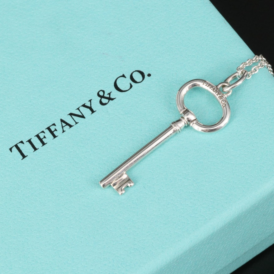 Tiffany & Co. Sterling Oval Key Pendant on Elsa Peretti Chain Necklace