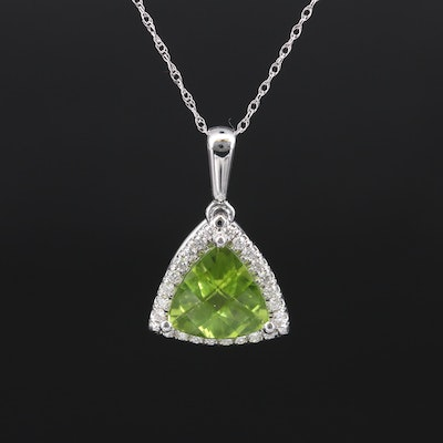 14K Peridot and Diamond Halo Pendant Necklace
