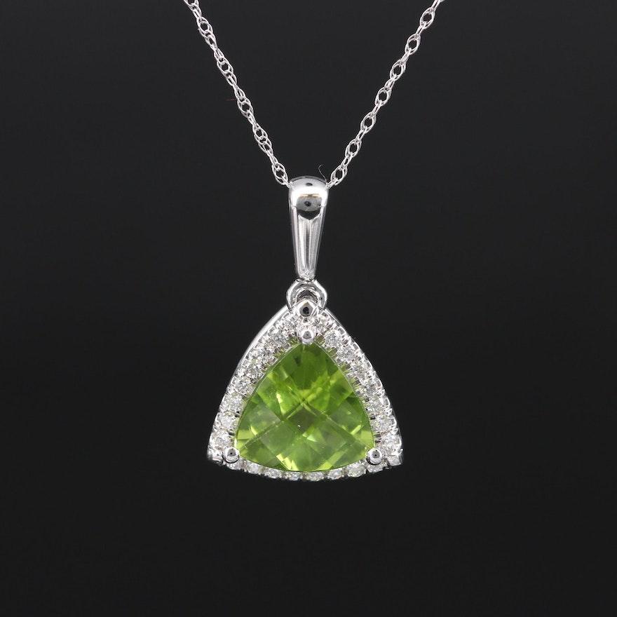 14K Peridot and Diamond Halo Pendant Necklace