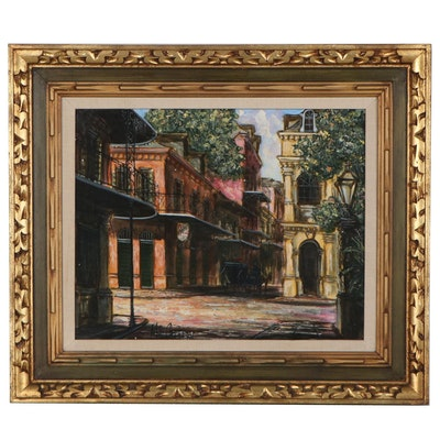 "Architectural Street Scene Oil Painting ""Old Spanish Cabildo"""