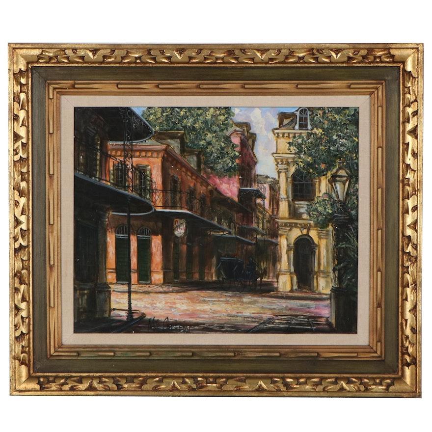 "Architectural Street Scene Oil Painting ""Old Spanish Cabildo"""