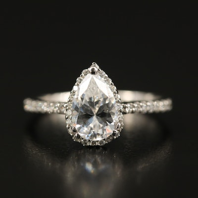 14K Diamond Teardrop Semi-Mount Ring with Cubic Zirconia Center