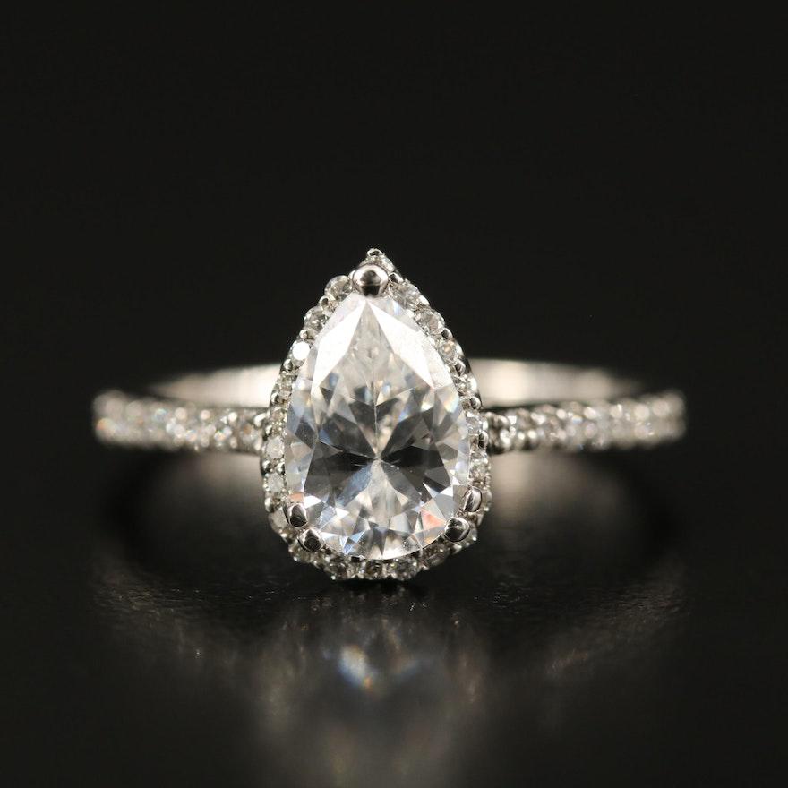 14K Diamond Teardrop Semi-Mount Ring with Cubic Zirconia Center