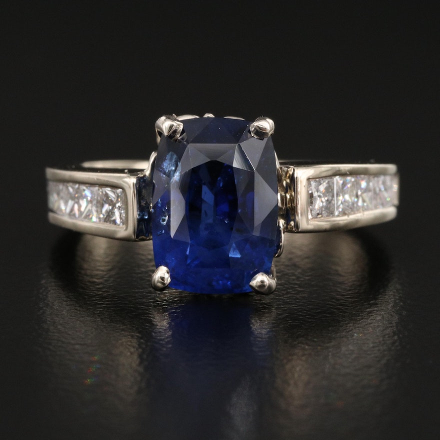 14K 3.89 CT Sapphire and Diamond Ring with GIA Report
