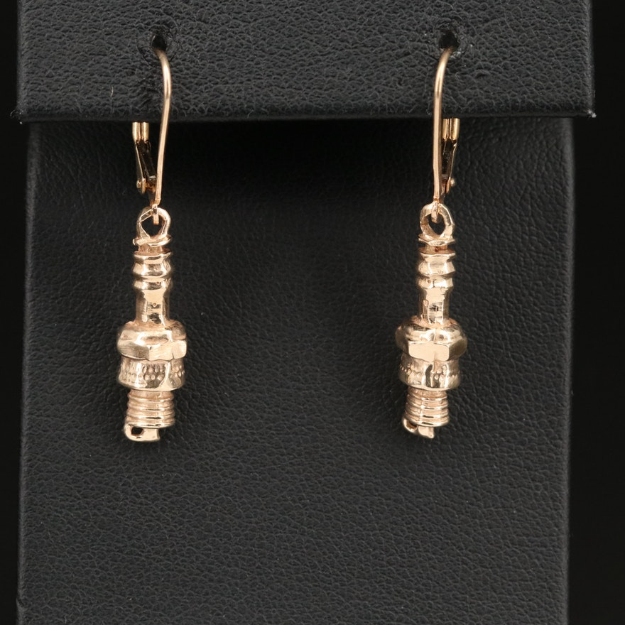 14K Spark Plug Earrings