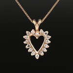 Italian 14K Diamond Heart Pendant Necklace