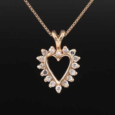Italian 14K Diamond Heart Pendant Necklace