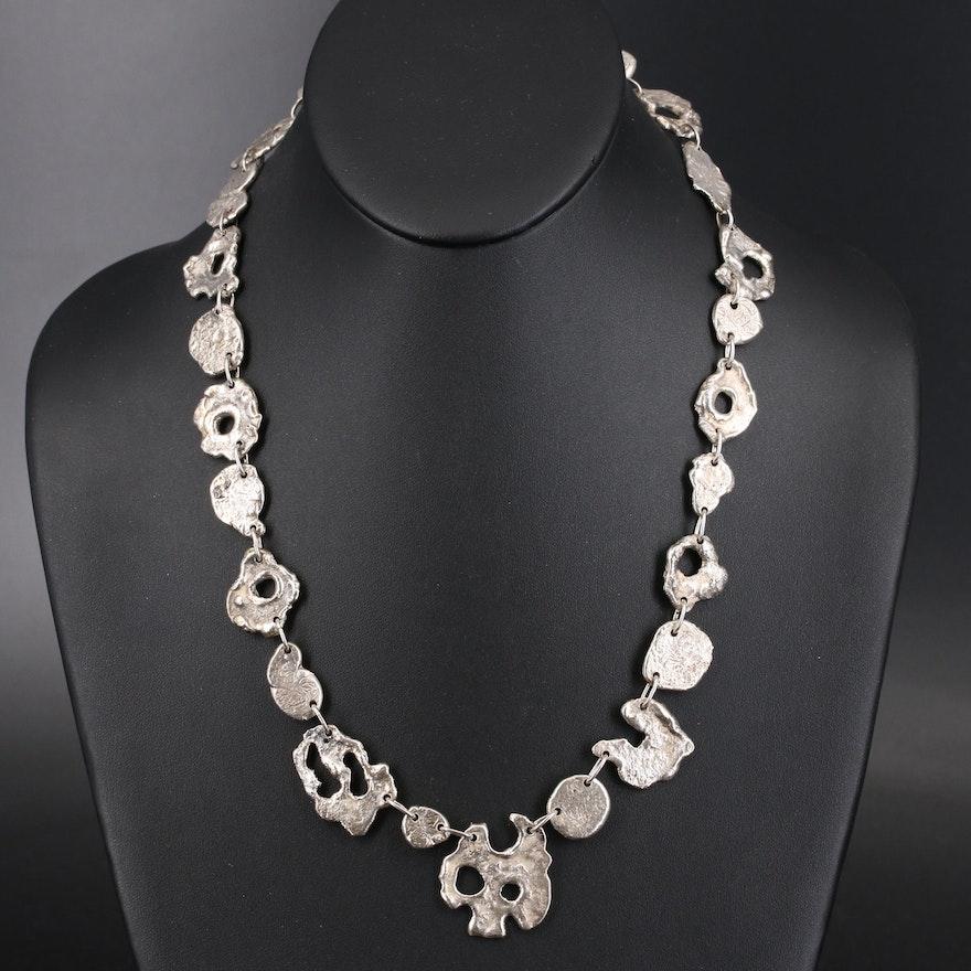 Vintage Modernist Sterling Freeform Link Necklace