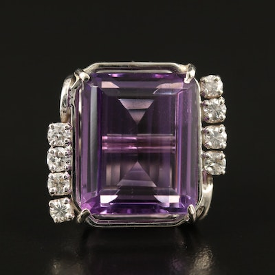 14K 17.59 CT Amethyst and Diamond Ring