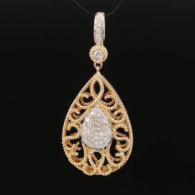 14K Diamond Cluster Pendant with Ropework Detailing