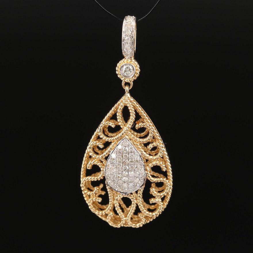 14K Diamond Cluster Pendant with Ropework Detailing