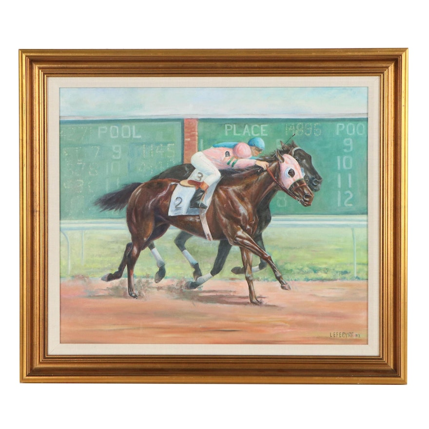 Oil Painting of a Horse Race, 1982