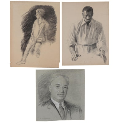 Edmond James Fitzgerald Figural Charcoal Drawings, Mid-20th Century