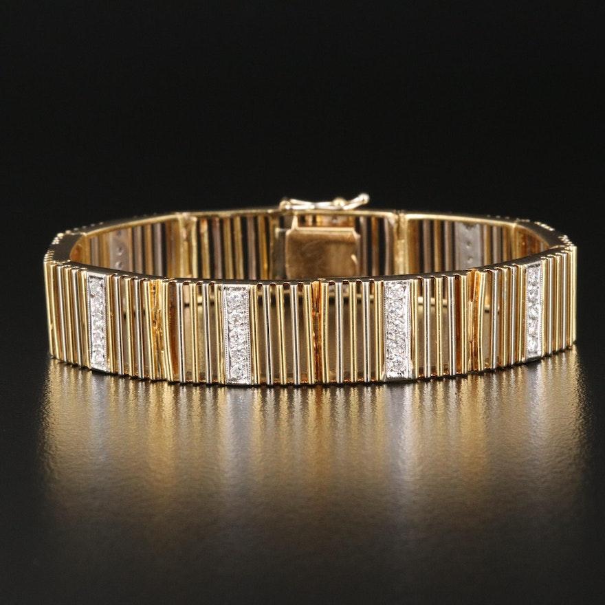 18K Two-Tone Gold 1.37 CTW Diamond Panel Bracelet