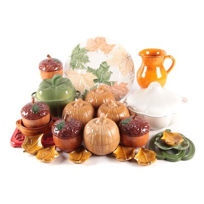 Bordallo Pinheiro and Other Fall Themed Table Accessories and Cast Iron Cookware