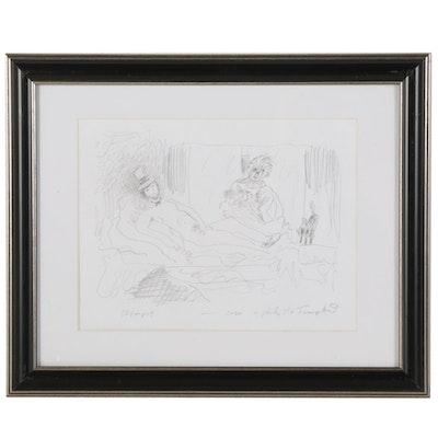 "Philip the Transplant Graphite Drawing ""Olympus,"" 2020"