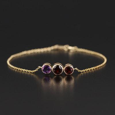 14K Garnet and Amethyst Bracelet