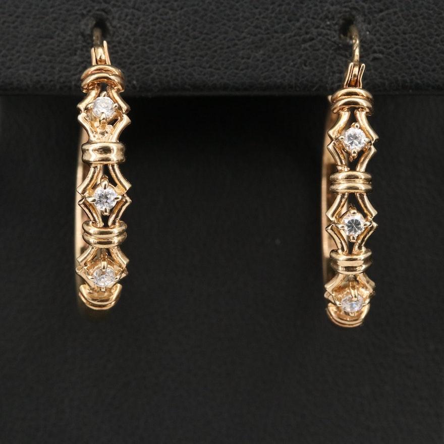10K Cubic Zirconia Hoop Earrings