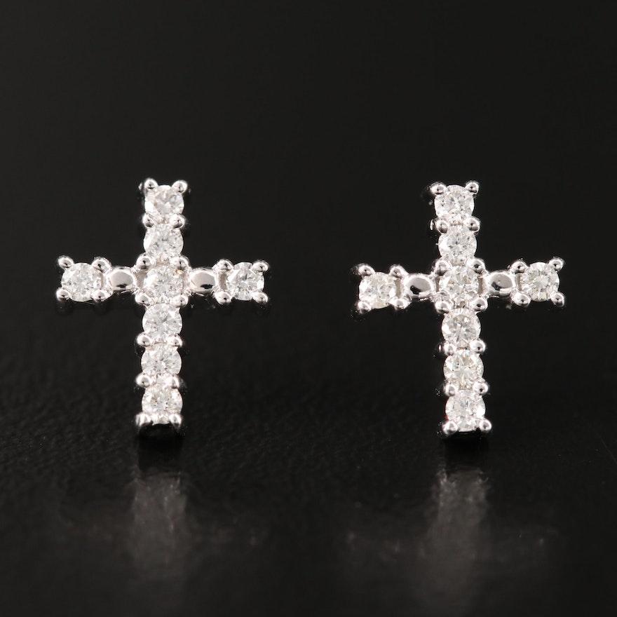 14K Diamond Cross Earrings