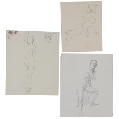 Edmond James Fitzgerald Double-Sided Female Nude Ink Drawings, Mid-20th Century